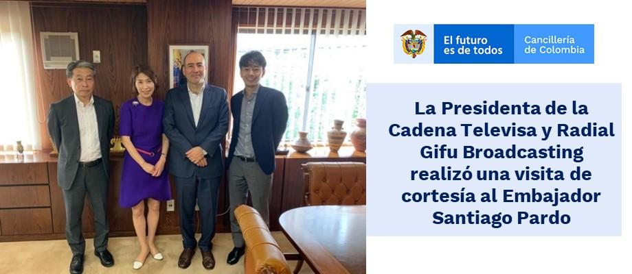 La Presidenta de la Cadena Televisa y Radial Gifu Broadcasting realizó una visita de cortesía al Embajador